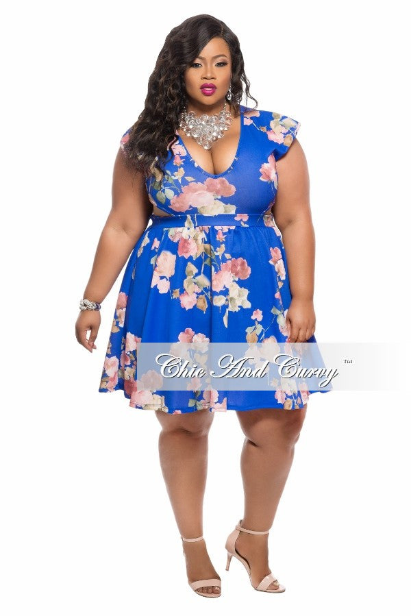 New Plus Size Skater Dress with V Neck and Side Cut Outs in Blue Floral Print