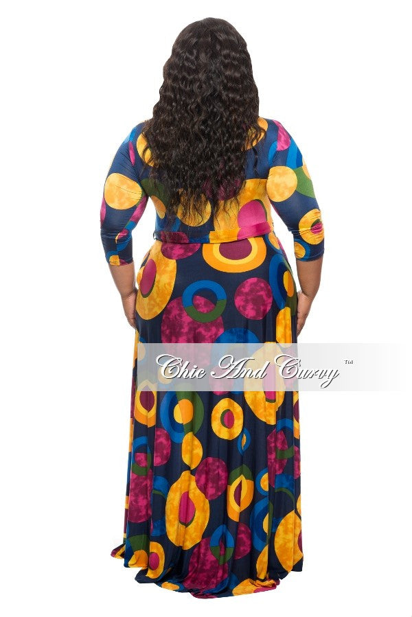 New Plus Size Long Dress with 3/4 Sleeve and Tie in  Blue, Yellow, Magenta and Green Abstract Print