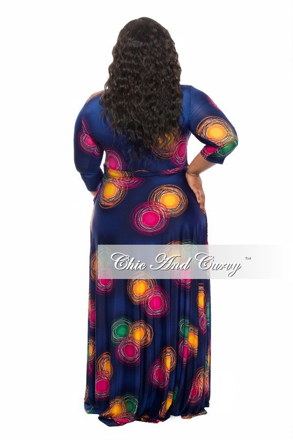 New Plus Size Long Dress with 3/4 Sleeve and Tie in Navy Blue, Magenta, and Green with Swirly Circles Print