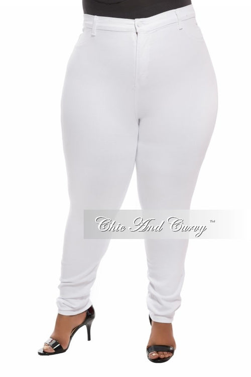 Final Sale Plus Size Denim Jeans in White