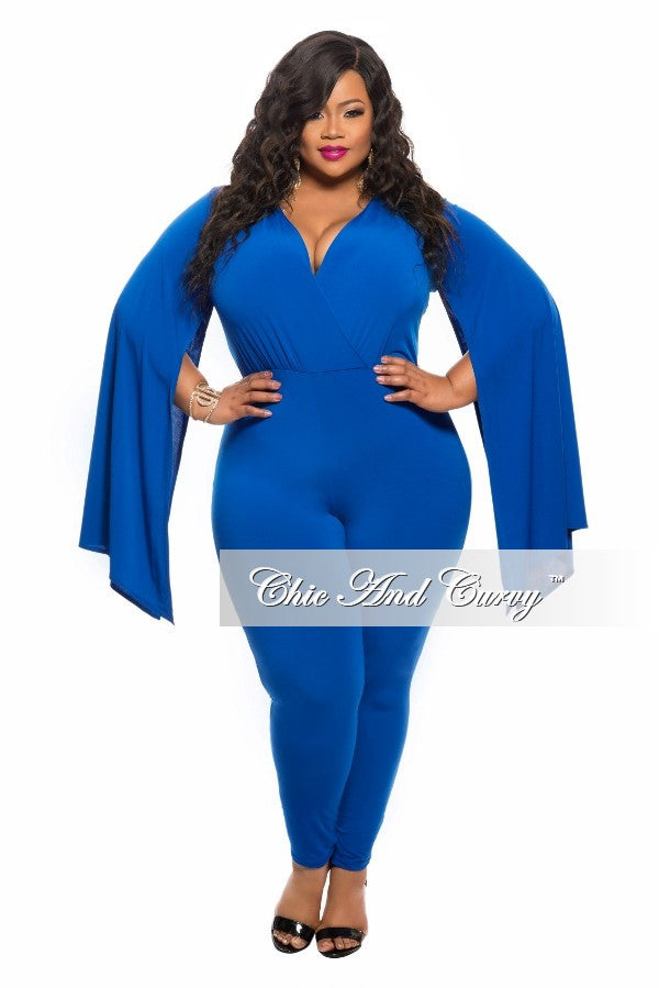 New Plus Size Jumpsuit With Slit Sleeves In Royal Blue Chic And Curvy