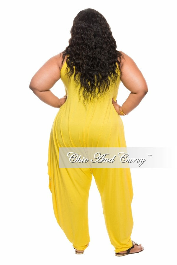 New Plus Size Harem Jumpsuit in Yellow