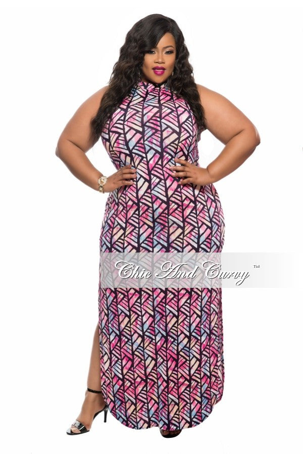 Final Sale Plus Size Sleeveless Maxi Dress with Double Slit and ...