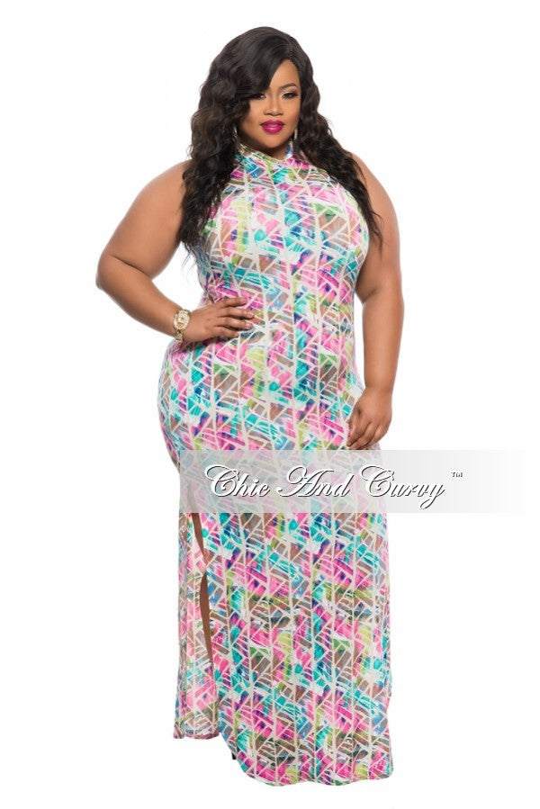 Final Sale Plus Size BodyCon Dress with Back Cutout and Double Slit in Pink, Lime Green, and Teal