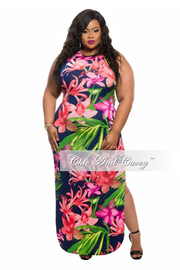 Final Sale Plus Size Sleeveless Maxi Dress with Double Slit and Back Cut-Out in Green, Red, Blue and Fuchsia