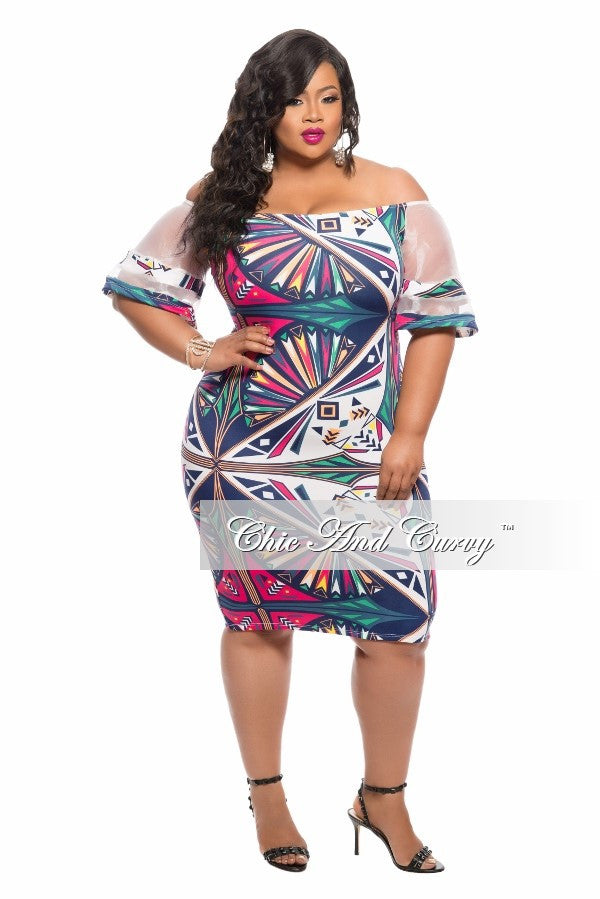 New Plus Size BodyCon Off the Shoulder Dress in Off White, Hot Pink and Yellow Print