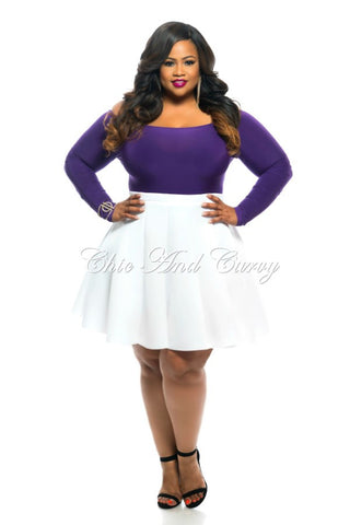 Final Sale Plus Size Skirt in Neoprene Fabric in White