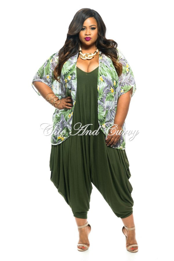 Final Sale Plus Size Sheer Short Sleeved Kimono in Green and Lavender Floral Print