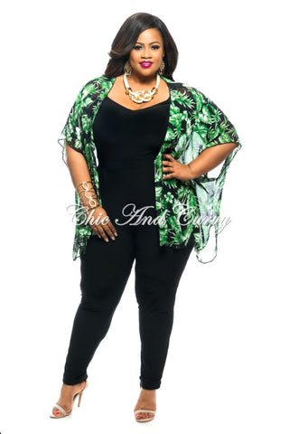 Final Sale Plus Size Sheer Short Sleeved Kimono in Black and Green Leaf Print