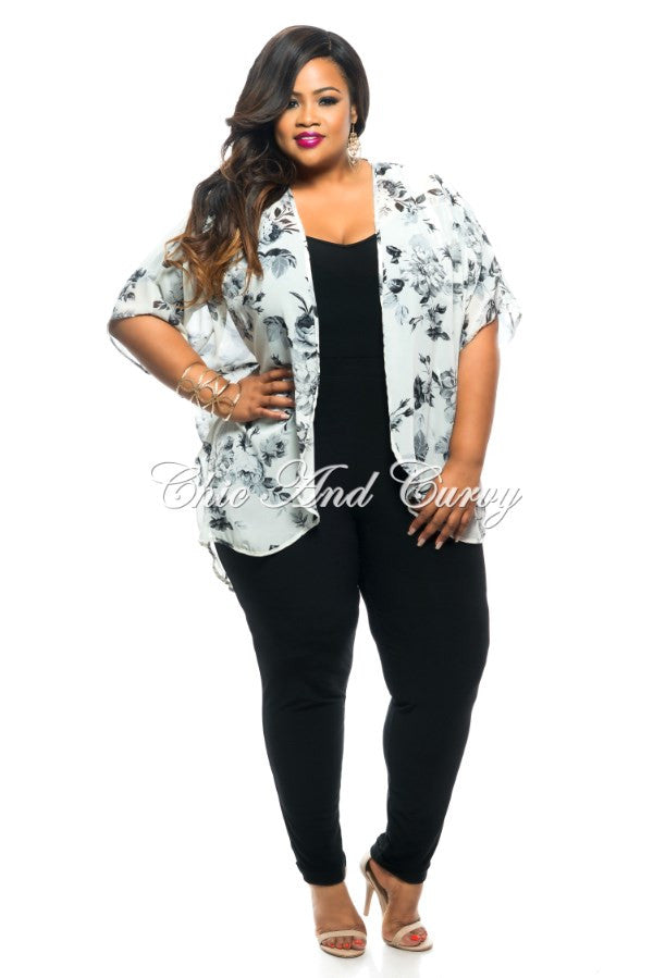 Final Sale Plus Size Sheer Short Sleeved Kimono in Black and White Floral Print