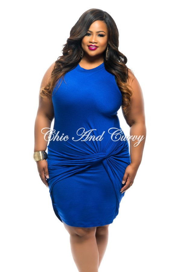 New Plus Size BodyCon Sleeveless with Knotted Front in Blue
