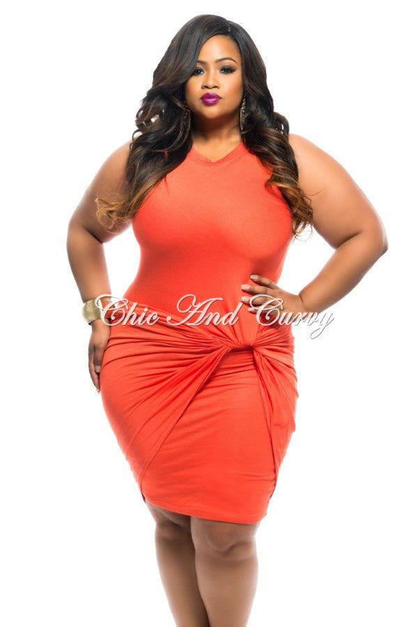New Plus Size BodyCon Sleeveless with Knotted Front in Orange
