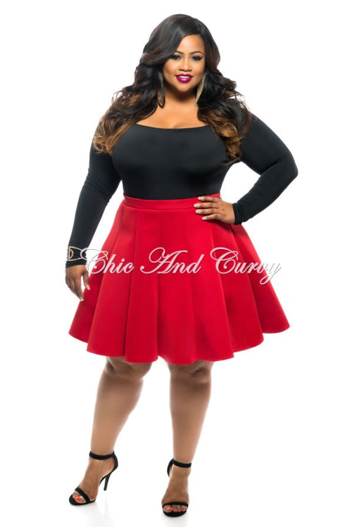 Final Sale  Plus Size Skirt in Neoprene Fabric in Red
