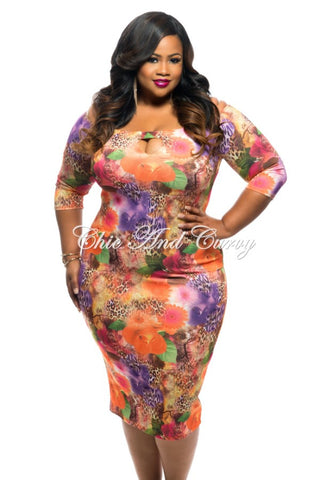 New Plus Size Long Dress with Keyhole in Poppy Orange