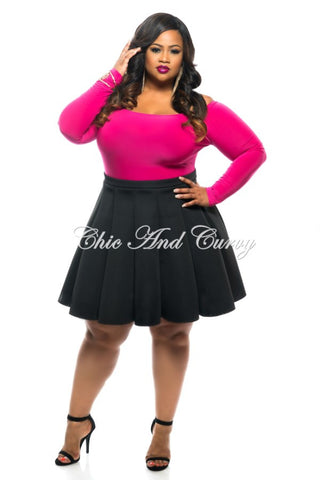 New Plus Size Long Sleeve Off the Shoulder Top in Pink