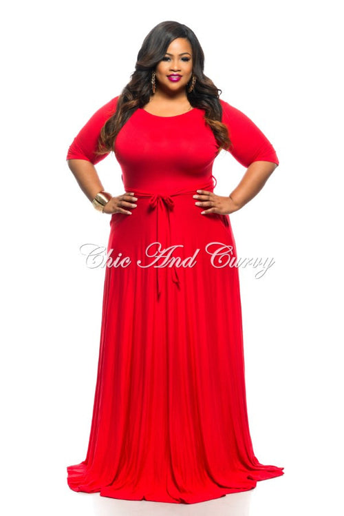 50% Off Sale - Final Sale Plus Size Long Dress with Accent Tie, 3/4 Sleeves and Side Pockets in Red