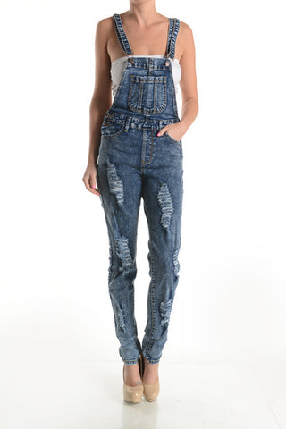 Final Sale Plus Size Distressed Dark Acid Washed Denim Overalls