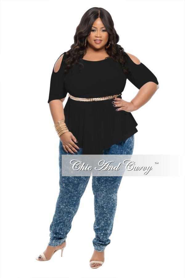 New Plus Size Top with Cold Shoulder in Black