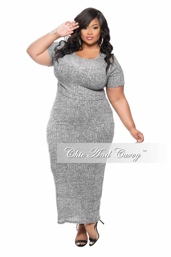 New Plus Size 2-Piece Short Sleeve Top and Skirt Set in Grey