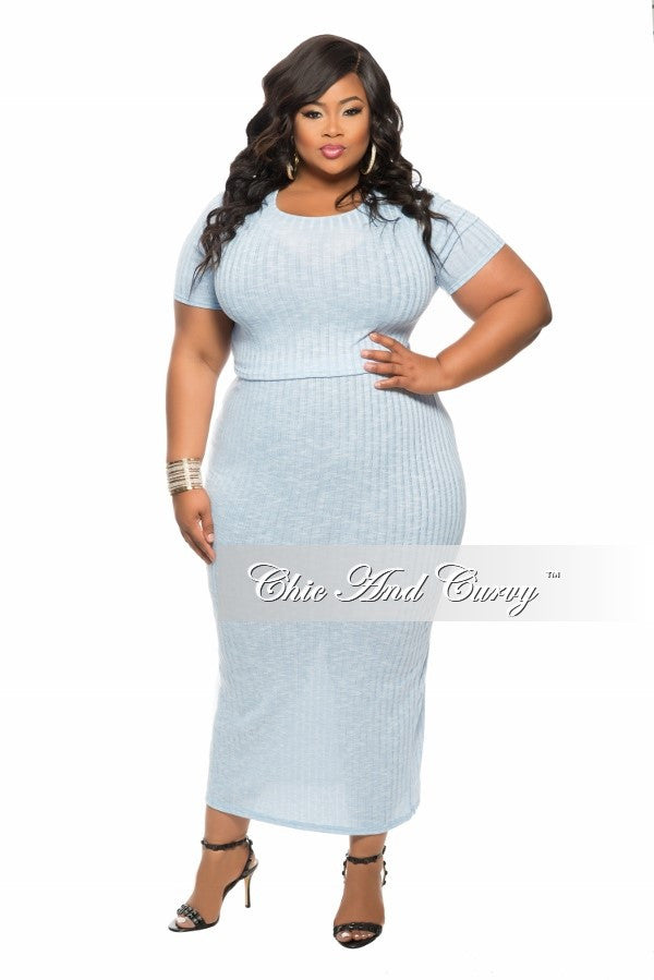New Plus Size 2-Piece Short Sleeve Top and Skirt Set in Light Blue ...