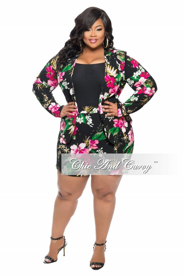 New Plus Size 2-Piece Jacket and Short Set in Black, Pink and Green Floral Print
