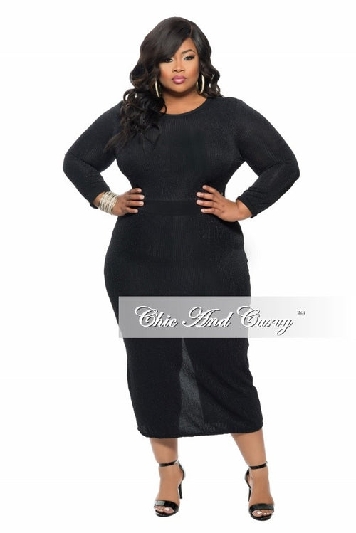 New Plus Size BodyCon Dress with Back Slit in Black