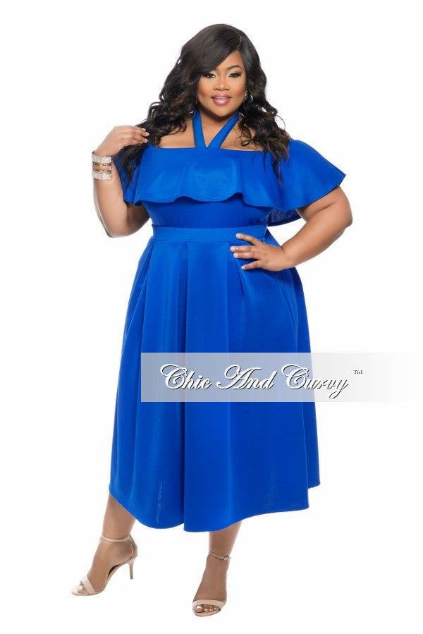 New Plus Size 2-Piece Off the Shoulder Halter Top and Pleated Skirt Set in  Royal Blue