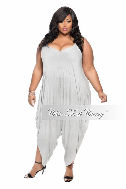 Final Sale Plus Size Harem Tank Jumpsuit in  Grey