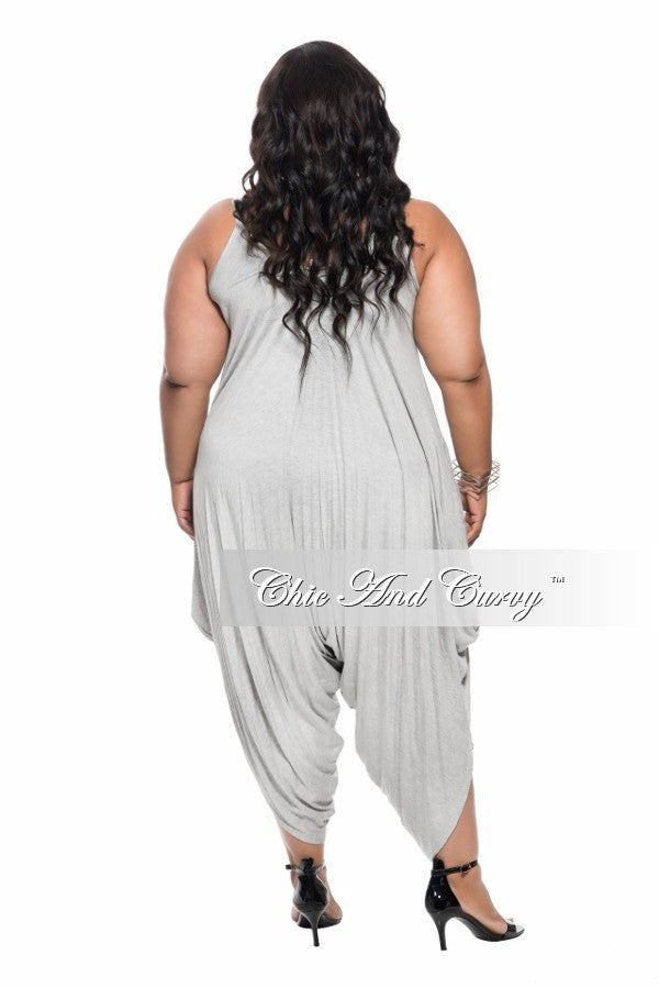 New Plus Size Harem Tank Jumpsuit in  Grey