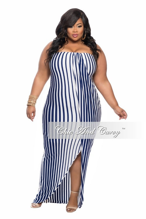 Final Sale Plus Size Strapless BodyCon Dress in Blue and White Stripe