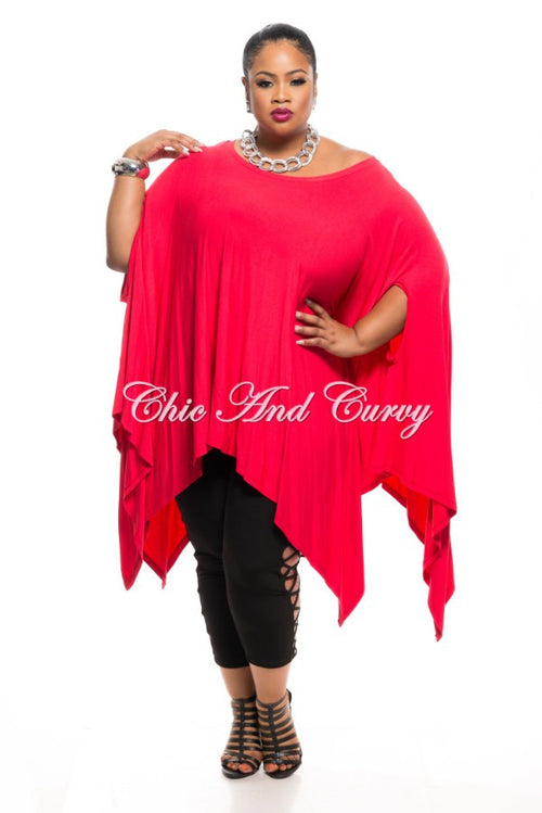 Final Sale Plus Size Draped Oversized Tunic Top in Red - One Size Fits Most