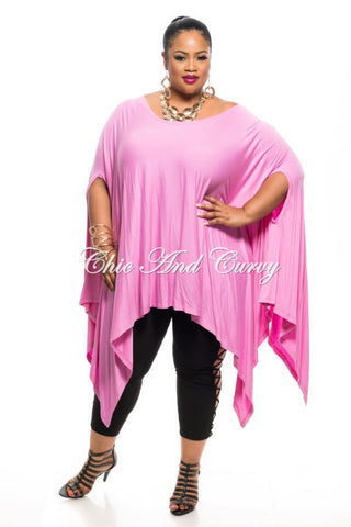 Final Sale Plus Size Draped Oversized Tunic Top in Light Pink- One Size Fits Most