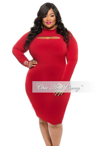 50% Off Sale - Final Sale Plus Size BodyCon Dress with Bust Cutout in Wine/Burgundy