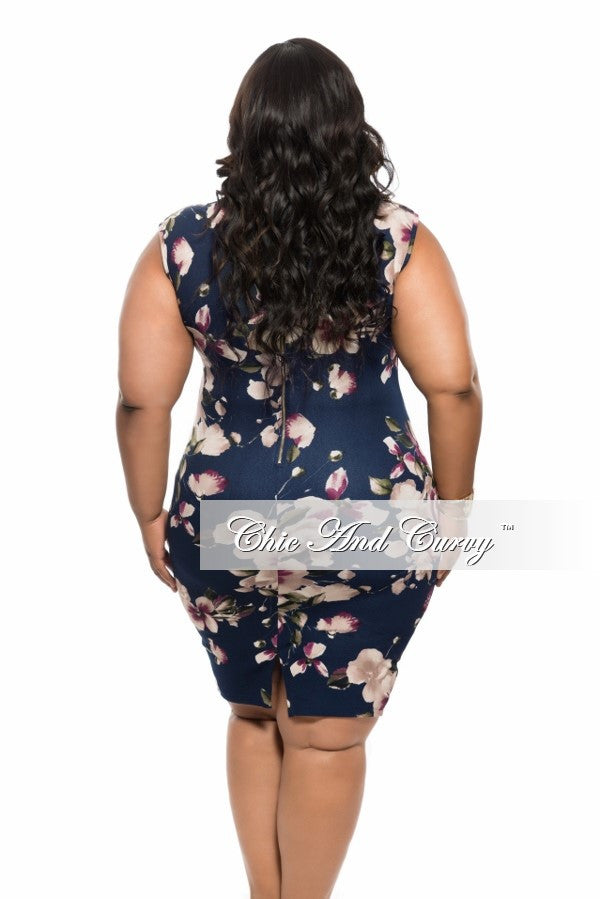 New Plus Size BodyCon Sleeveless Dress in Navy Blue Floral Print