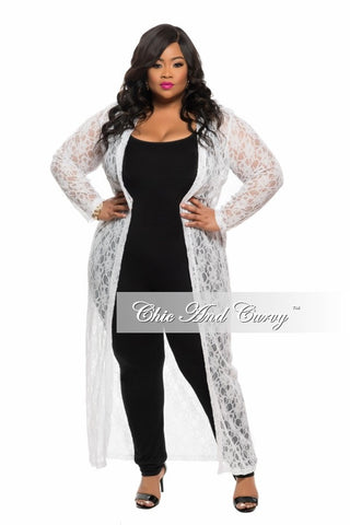 Final Sale Plus Size Lace Duster in White