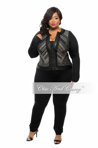 New Plus Size Jacket with Studs in  Black