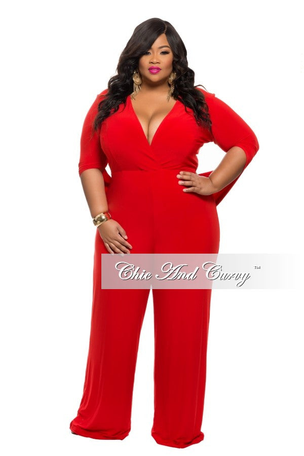 New Plus Size Jumpsuit with Connected Sleeves in  Red
