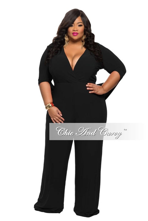 Final Sale  Plus Size Jumpsuit with Connected Sleeves in  Black