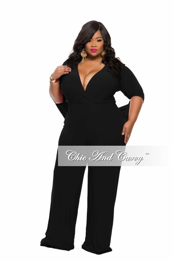 New Plus Size Jumpsuit with Connected Sleeves in  Black