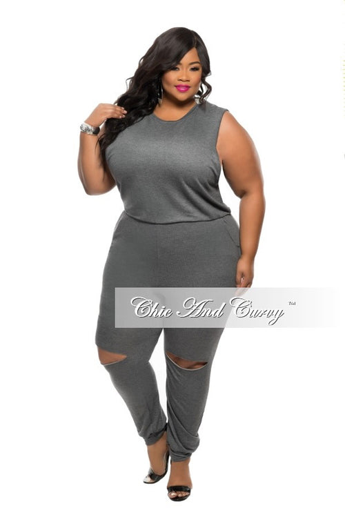 New Plus Size Jumpsuit with Back Zipper and Knee Cutout in  Grey