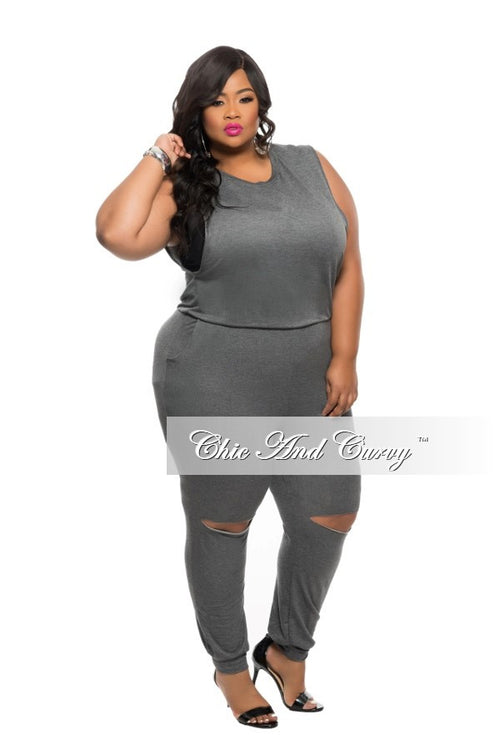 Final Sale Plus Size Jumpsuit with Back Zipper and Knee Cutout in  Grey