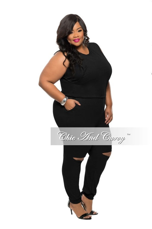 Final Sale Plus Size Jumpsuit with Back Zipper and Knee Cutout in Black