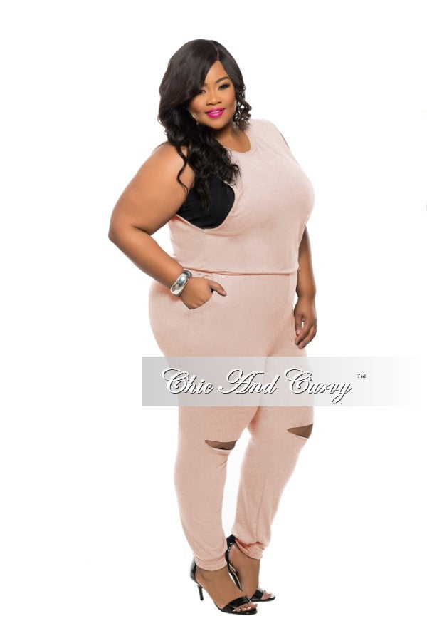 New Plus Size Jumpsuit with Back Zipper and Knee Cutout in Rose Pink