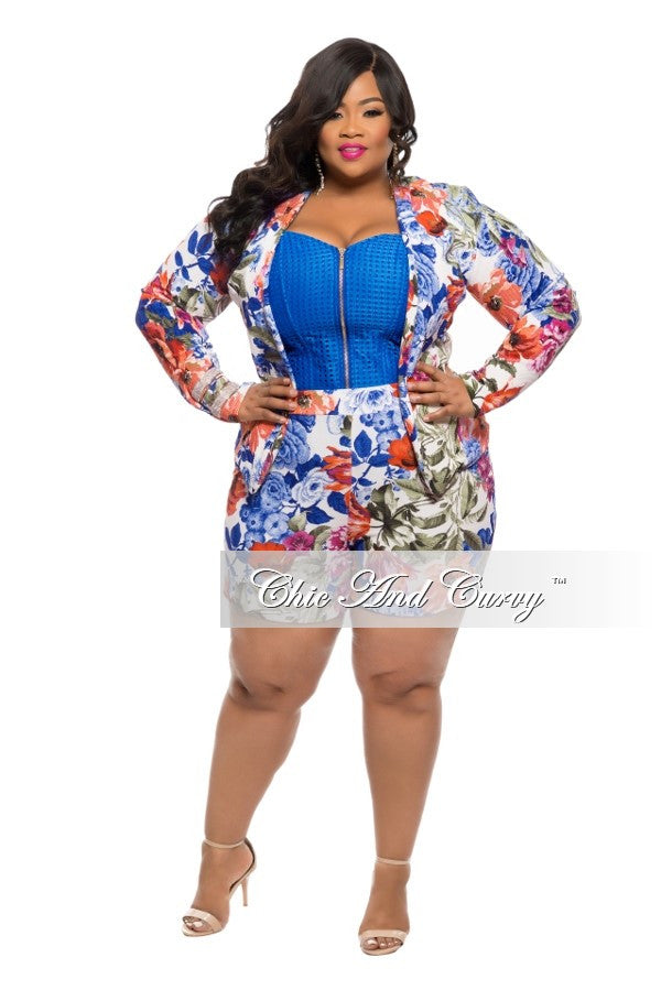 New Plus Size 2-Piece Shorts and Jacket Set in Multi Color Floral ...