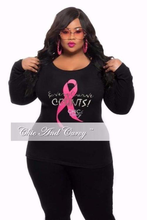 Final Sale Plus Size Breast Cancer Awareness Long Sleeve Shirt in Black, Pink and Silver