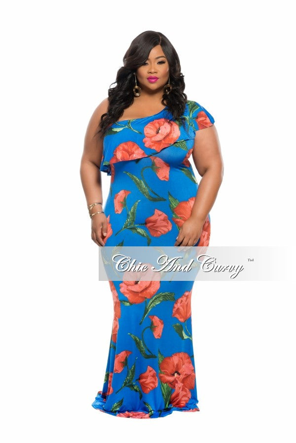 New Plus Size BodyCon Long Dress in Blue and Red Floral Print