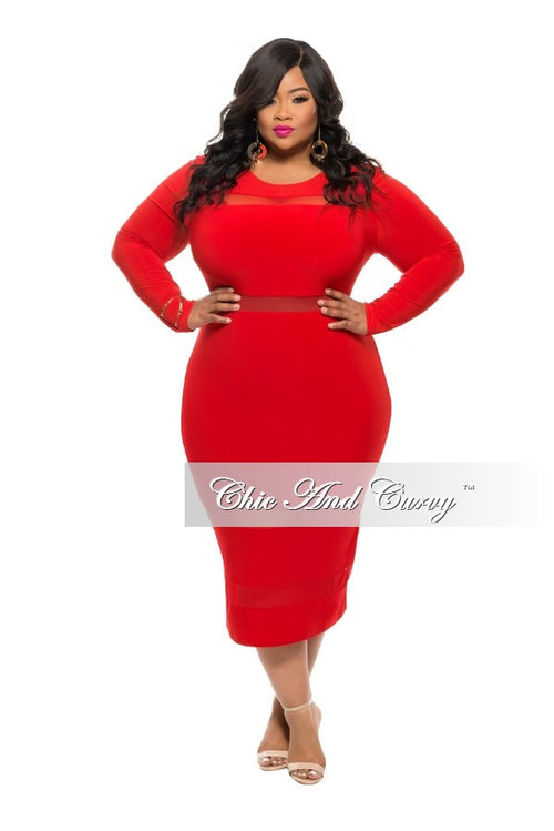 New Plus Size BodyCon Dress with Mesh Stripe Cutouts in  Red
