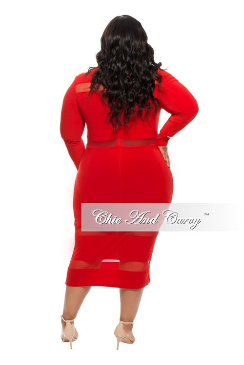 35% Off Sale - Final Sale  Plus Size BodyCon Dress with Mesh Stripe Cutouts in  Red