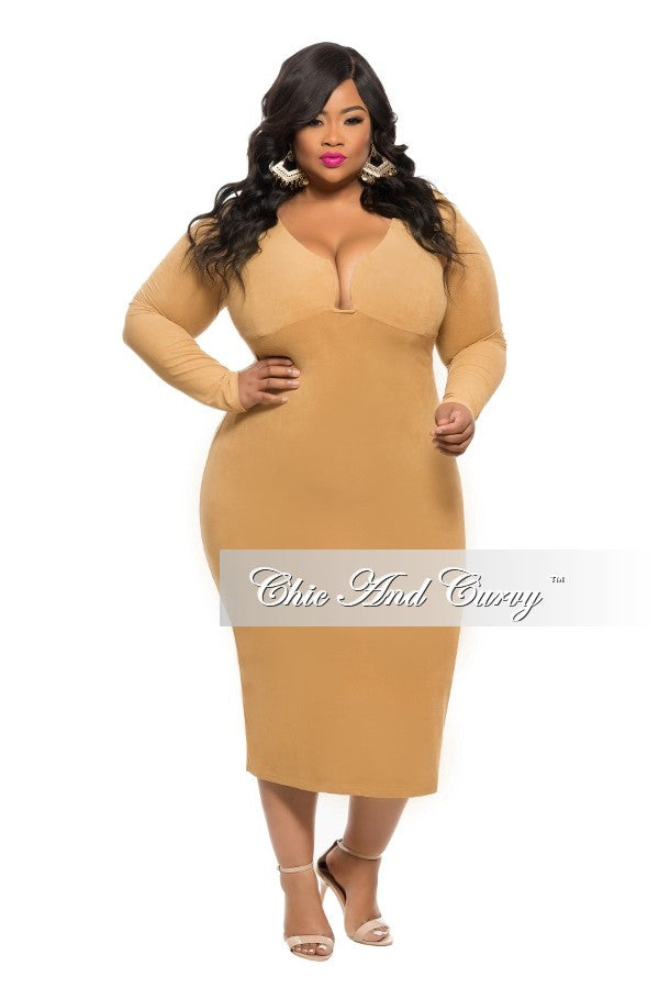 New Plus Size BodyCon Faux Suede Dress with Deep Neckline in Tan