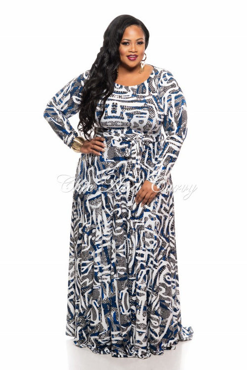 New Plus Size Long Sleeve Dress w/ Tie in Black, White and Royal Blue Multi Color Print